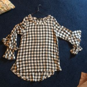 Flannel Tunic with ruffled Bell sleeves
